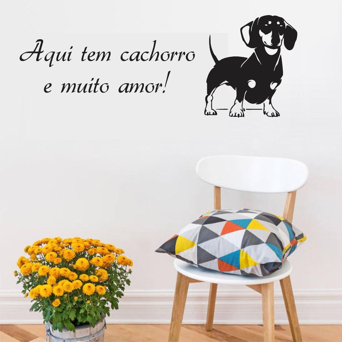 Adesivo Parede Pet Shop Cachorro Frase Aqui Tem Amor 2 R 29 99 Em