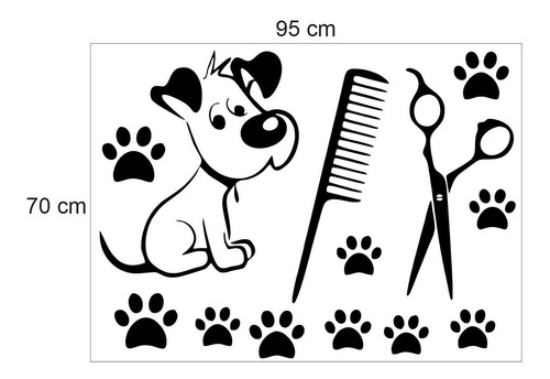 adesivo parede pet shop cachorro tesoura patas pente
