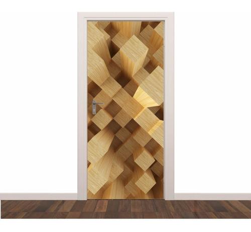 adesivo parede porta cubos c01 3d quarto sala