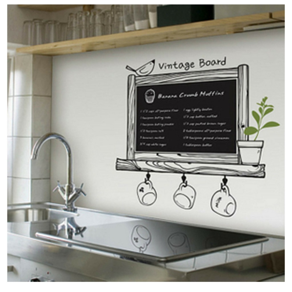 Adesivo Parede Quadro Negro Folha Mural Cozinha Sala D Estar R 59  -> Mural Parede Sala