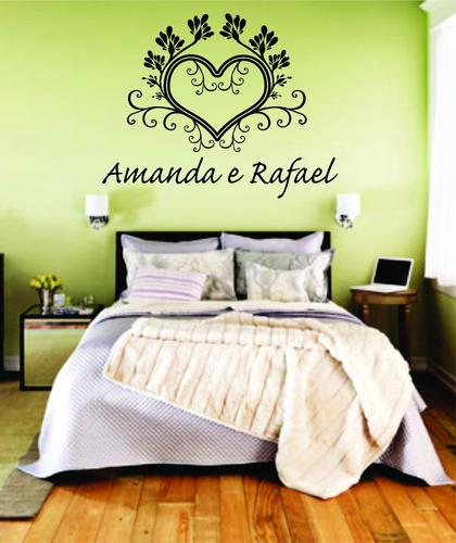 adesivo parede quarto cabeceira cama coração nomes casal
