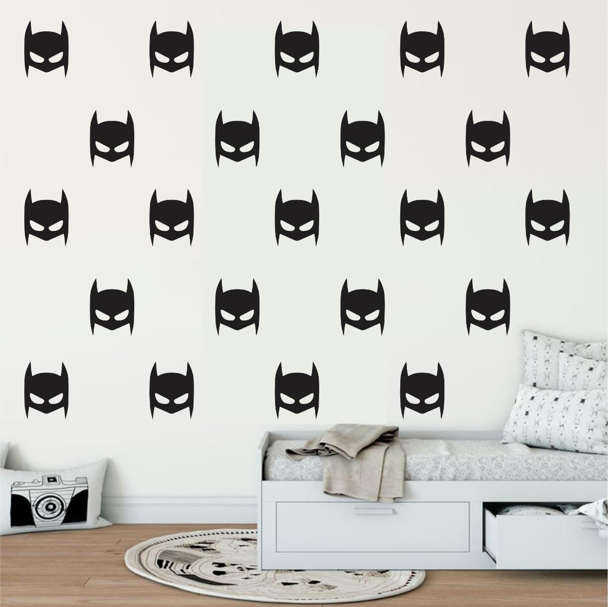 9abfa98c017ba7 Adesivo Parede Quarto Infantil Heroi Kit Batman Máscara