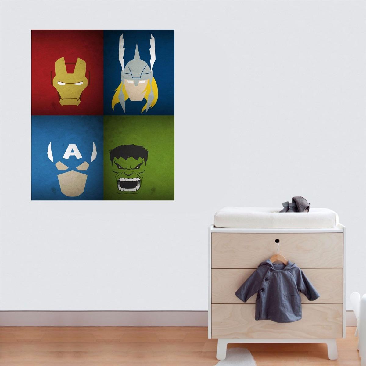 Aparador Pequeno Preto ~ Adesivo Parede Quarto Infantil Vingadores Hulk Thor Avengers R$ 29,99 em Mercado L