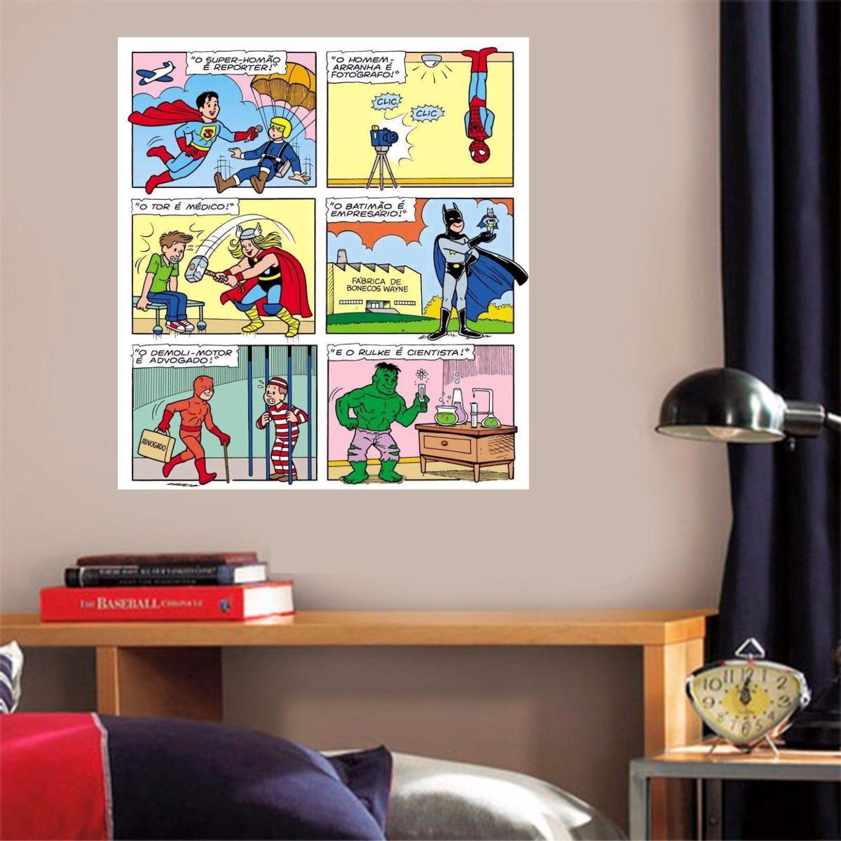 Tecido Para Parede Historia Em Quadrinhos No Mercado Livre Brasil ~ Tecidos Para Parede De Quarto E Quarto Bebe Super Herois