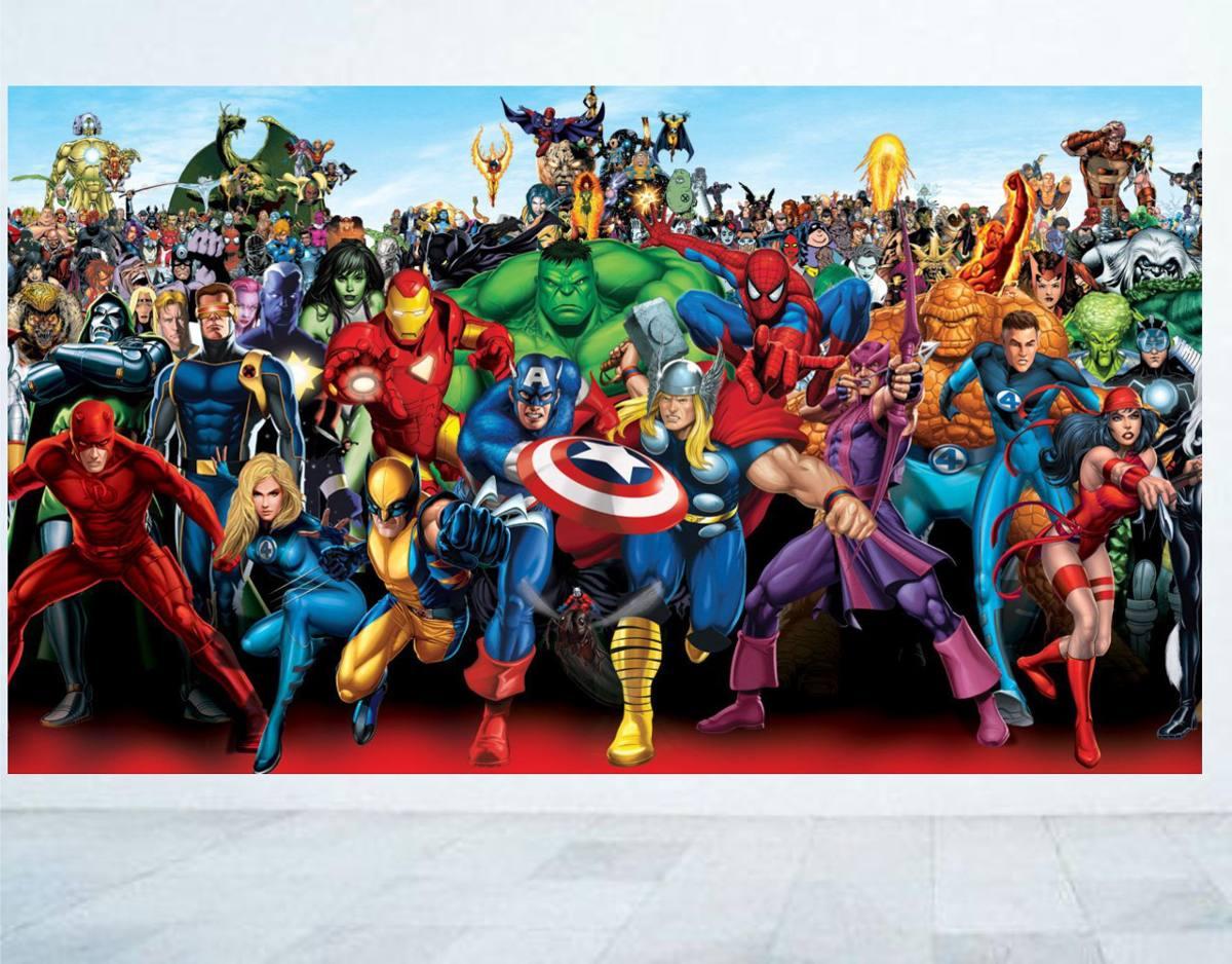 Aparador Tv ~ Adesivo Parede Quarto Super Heróis Os Vingadores R$ 49,99 em Mercado Livre
