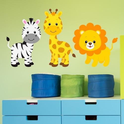 adesivo parede safari zebra girafa e leão animais quarto
