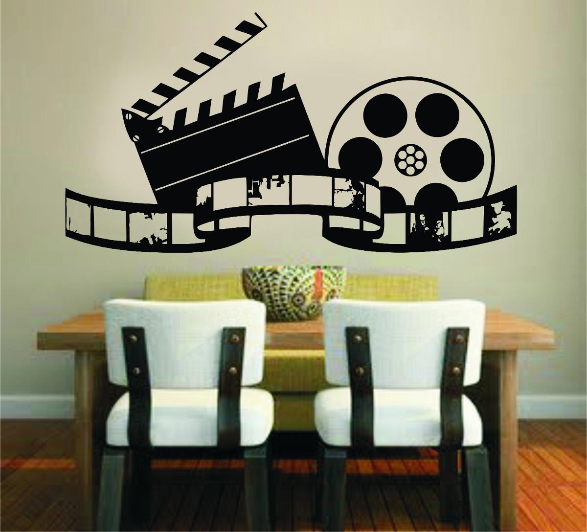 Adesivo Parede Sala Quarto Filme Cinema Claquete Foto R 29 99 Em  -> Arte Parede Sala