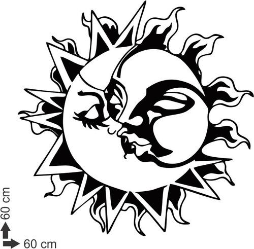 adesivo parede sala quarto mandala sol e lua universo