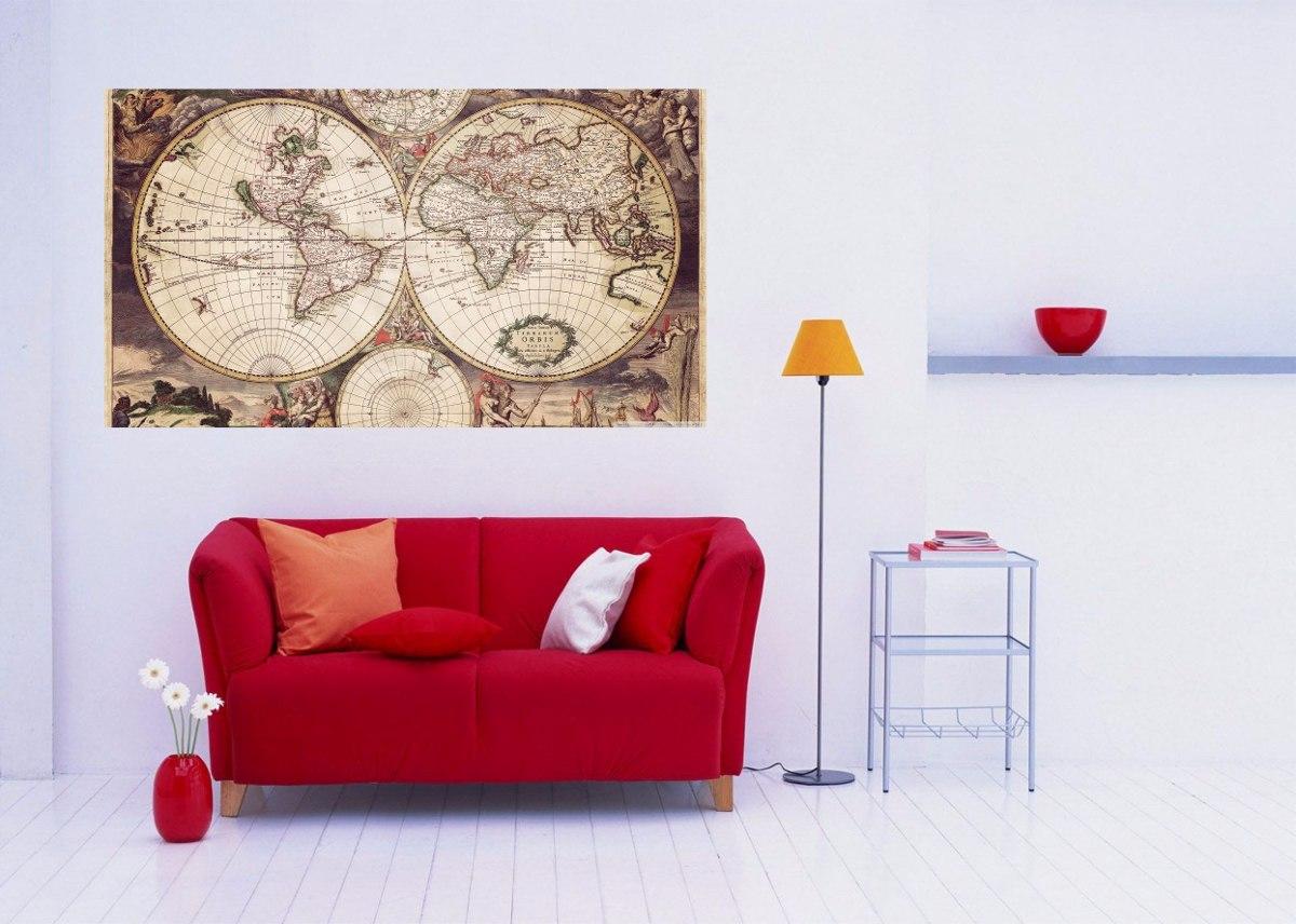 Tecido Para Parede Mapa Mundi Antigo No Mercado Livre Brasil ~ Papel De Parede Mapa Mundi Quarto