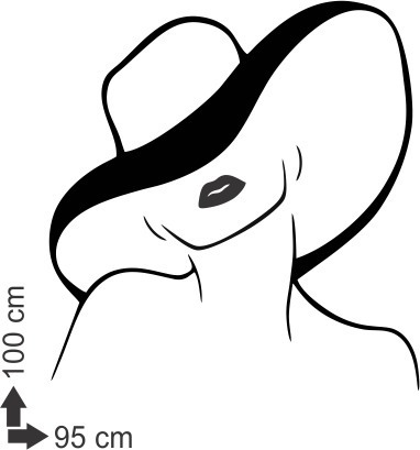 adesivo parede salão batom cabeleireiros mulher chapéu