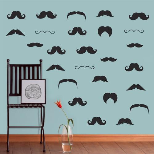 adesivo parede salão beleza barbearia kit bigode barba shave