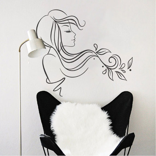 adesivo parede salão beleza cabelo mulher decorativo 90x100