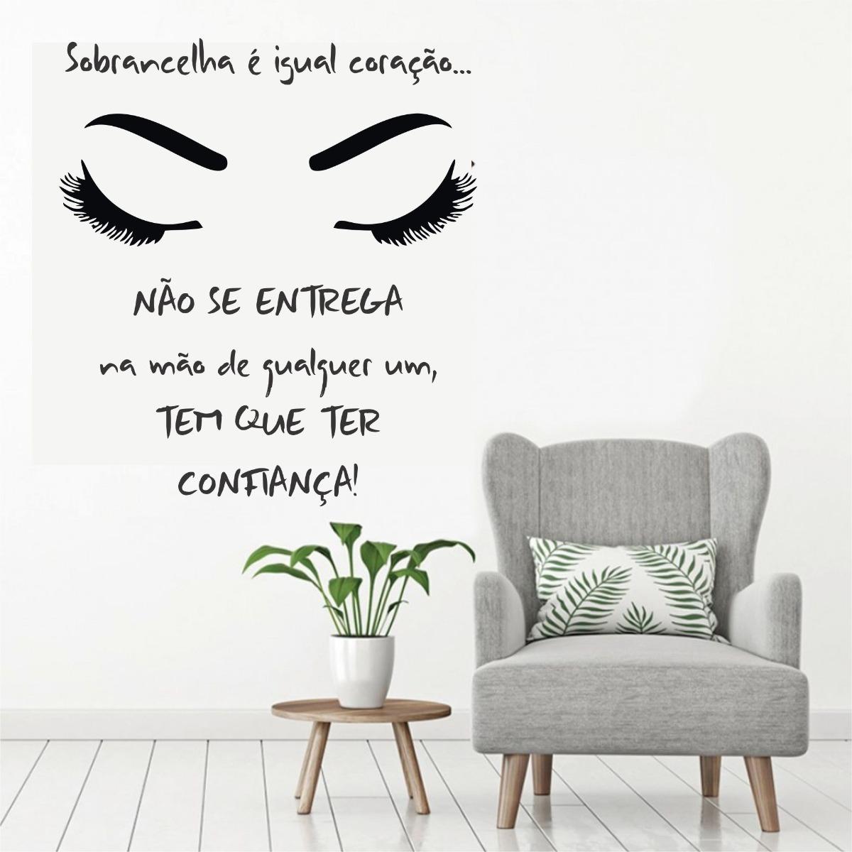 Aparador Ferro Mercado Livre ~ Adesivo Parede Sal u00e3o Beleza Sobrancelha Cílios Olhos Frase R$ 129,99 em Mercado Livre