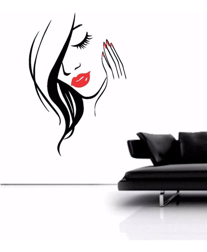 adesivo parede salão de beleza cabeleireiro manicure 77x115