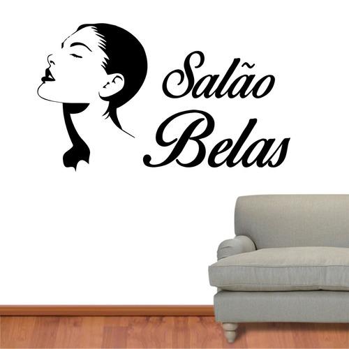 adesivo parede salão de beleza cabelo manicure - com nome