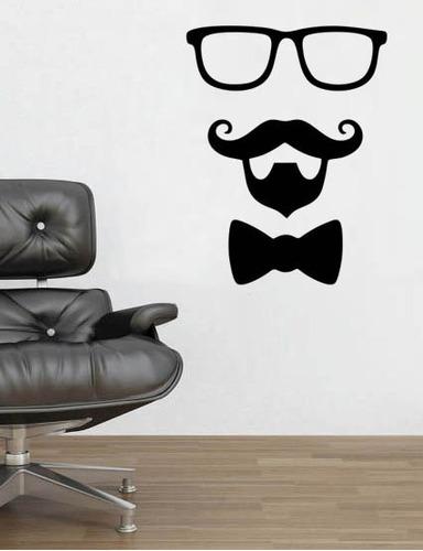 adesivo parede salão quarto óculos barbearia bigode 80x62 cm
