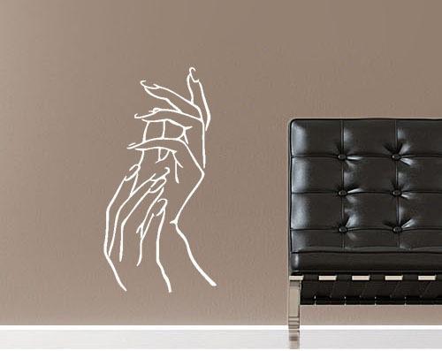 adesivo parede salão unhas mão cabeleireiro manicure 80x40cm