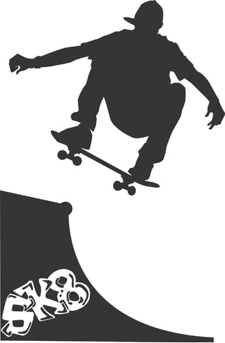 adesivo parede skate rampa 1,2 metro sk8 skatista sala quart