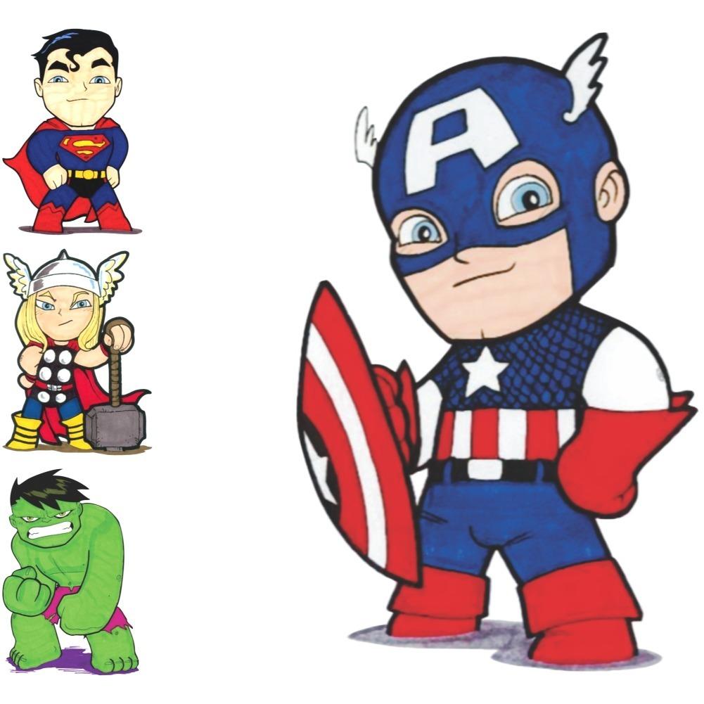 Adesivo Parede Super Herois Kids Marvel 20cm 4 Unidades R