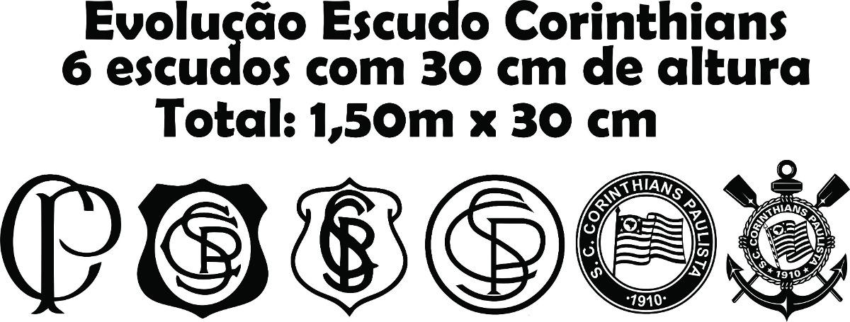 Aparador Vintage ~ Adesivo Parede Tim u00e3o Evoluç u00e3o Escudo Corinthians Fiel 1,50m R$ 39,99 em Mercado Livre