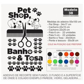Adesivo Pet Shop Patas Cachorro  Pente Tesoura Banho E Tosa