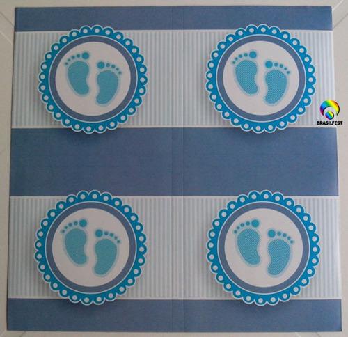 adesivo pezinho azul quadrado 7x7cm (20 unidades)