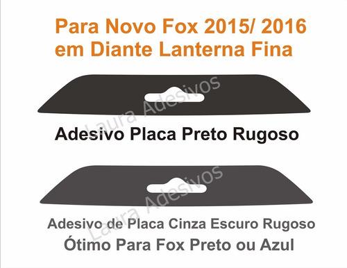 adesivo placa novo fox 2016 rugoso de parachoque vw nf15 la