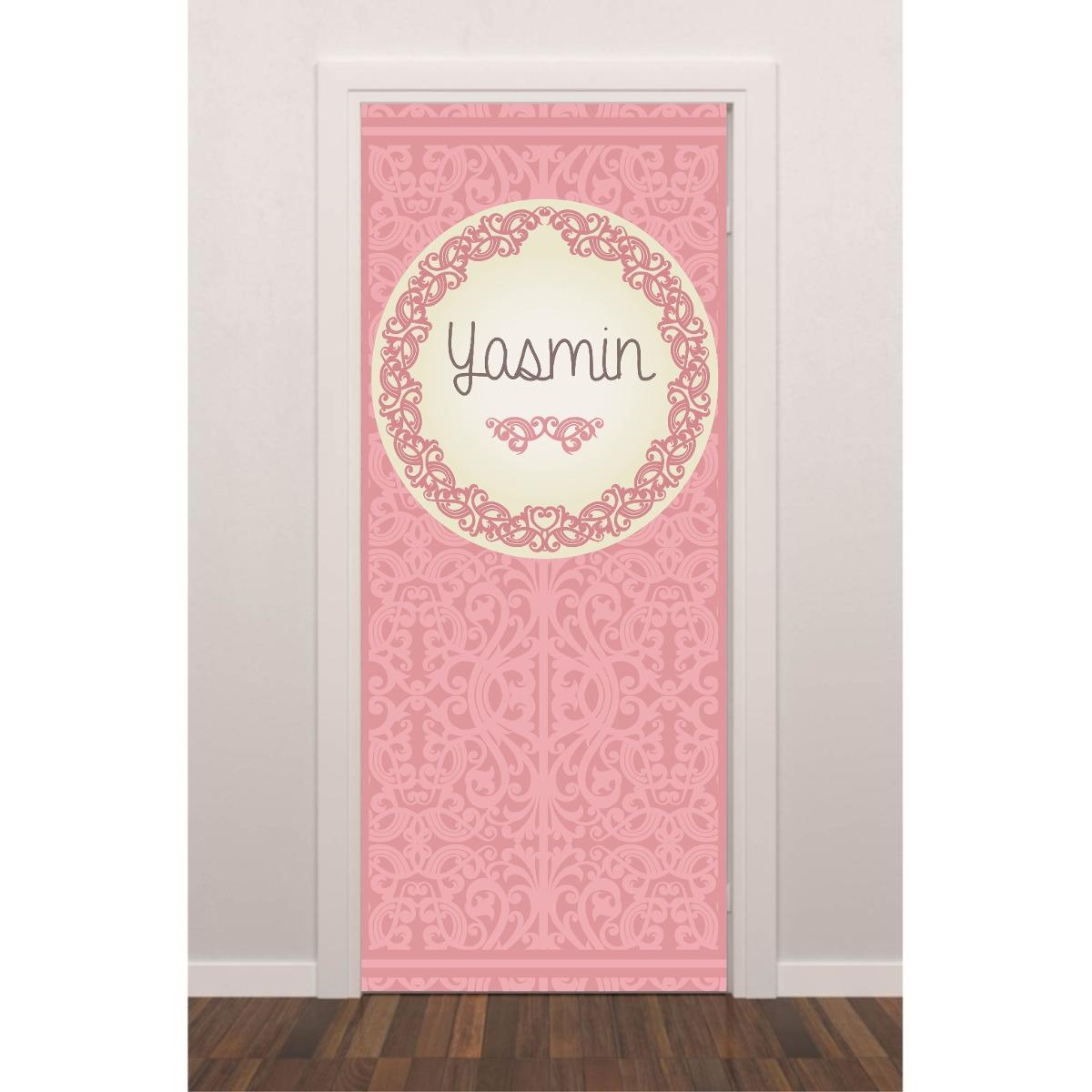Adesivo Azulejo Pastilha Resinada ~ Adesivo Porta Quarto Menina Rosa Arabesco Personalizado Nome R$ 109,99 em Mercado Livre