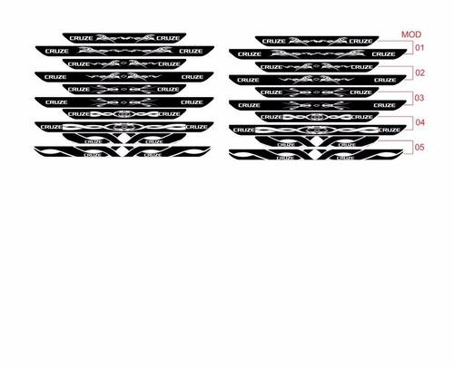 adesivo protetor soleira tri02 porta carro chevrolet cruze