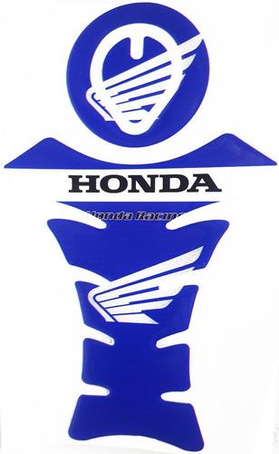 adesivo protetor tanque resinado moto honda + chaveiro blue