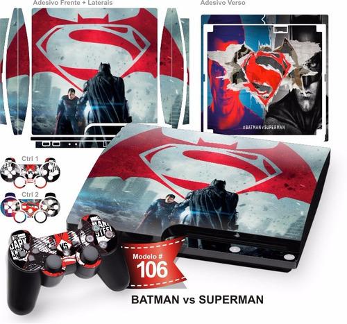 adesivo ps3 slim vinil pelicula skin batman vs superman