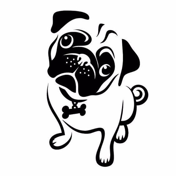 Pug Face Line Drawing : Adesivo pug cachorro para carro frete grátis r em