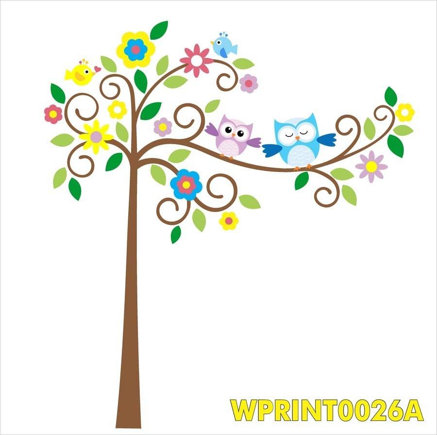 Adesivo Quarto Decoração árvore Com Corujas Lindas Wpt26a R 8790