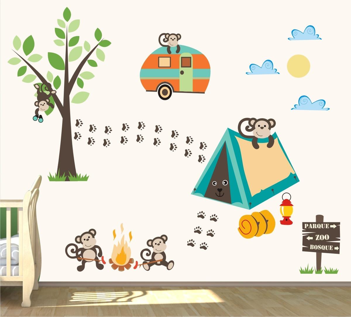 Aparador Estreito Para Sala ~ Adesivo Quarto Infantil Macaco Safari Bebe Arvore Zoo M89