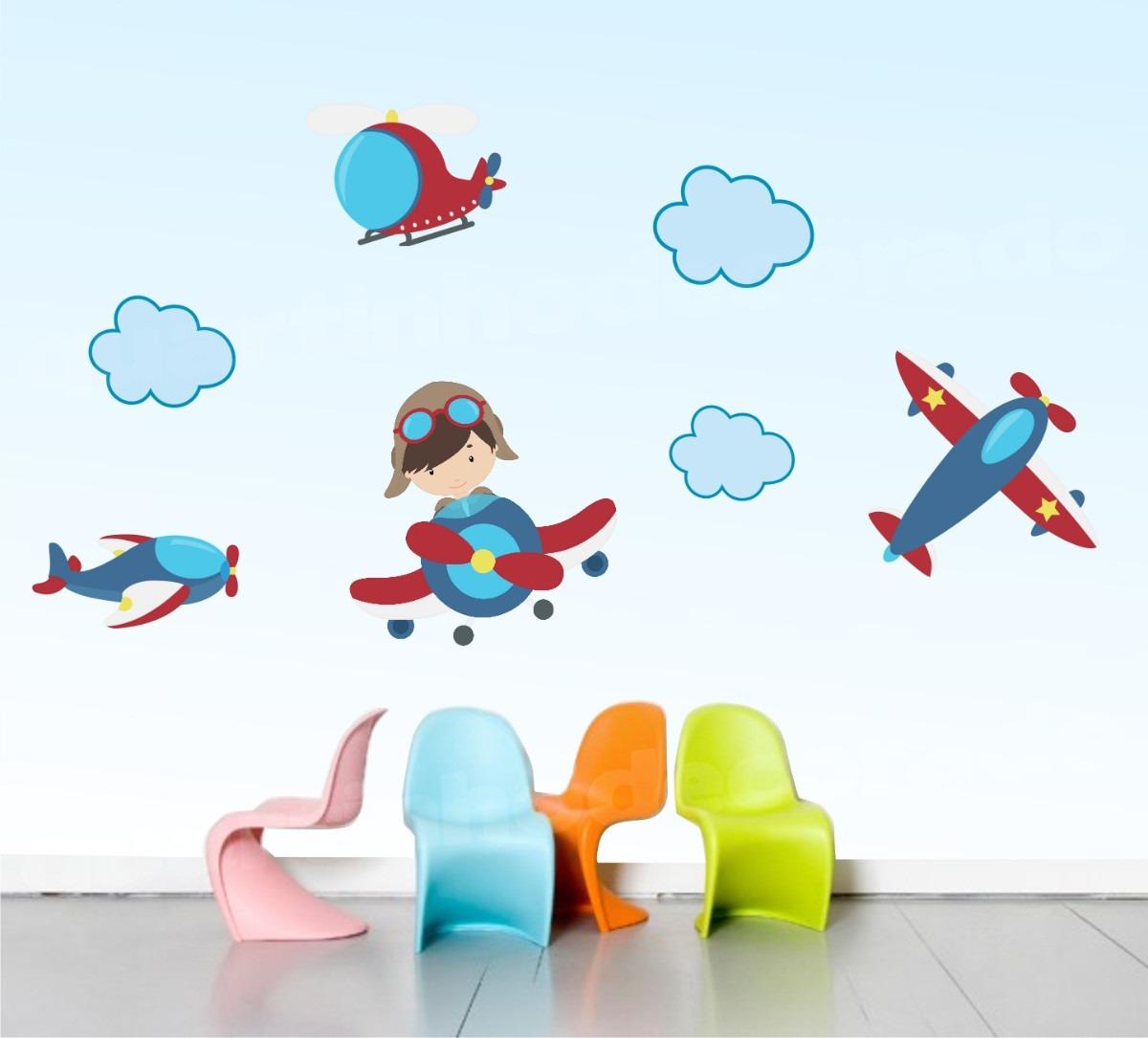 Artesanato Kit Higienico Para Banheiro ~ Adesivo Quarto Infantil Marinheiro Aviões Nuvem Ursinho
