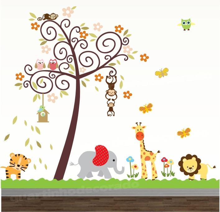 Adesivo Para Furo De Orelha ~ Adesivo Quarto Infantil Papel De Parede Arvore Safari Zoo