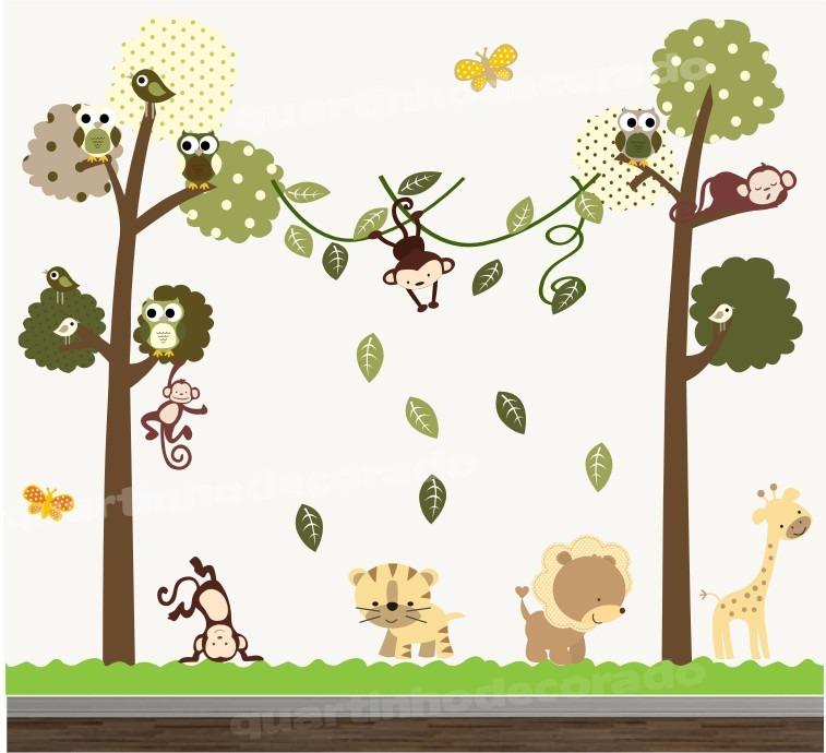 Adesivo quarto infantil papel parede arvore animais zoo for Papel para pared infantil