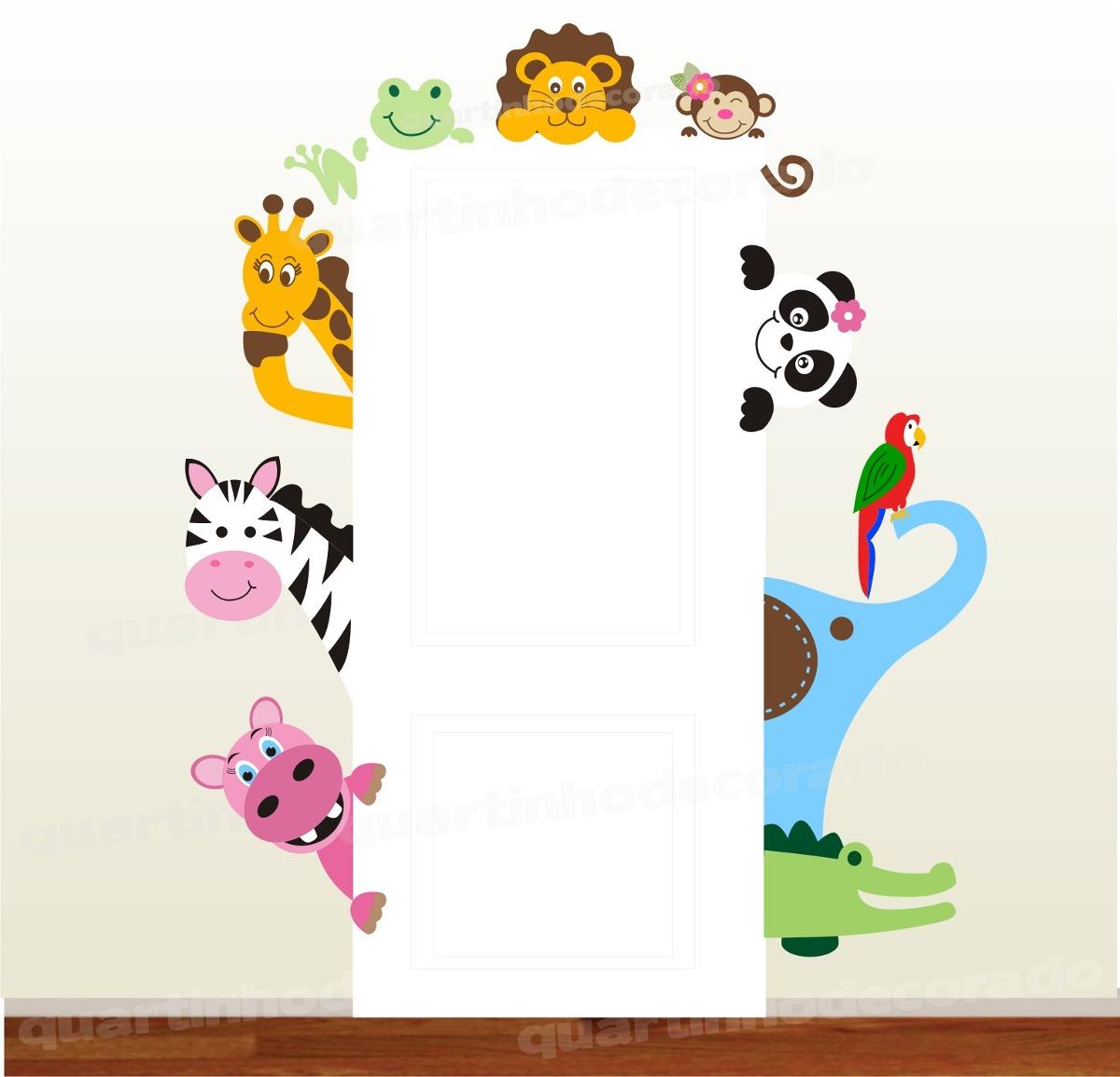 Aparador Estreito Para Sala ~ Adesivo Porta Quarto Infantil Animais Safari Parede Zoo 64