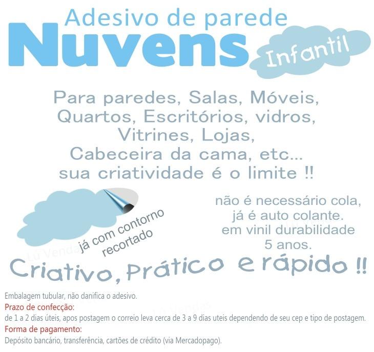 Artesanato Brasileiro Em Sp ~ Adesivo Quarto Infantil Parede Kit Nuvens Nuvem Bebe