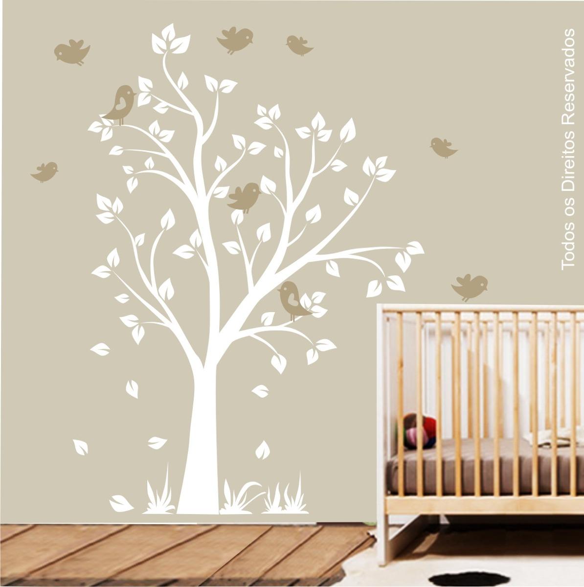 Adesivo Quarto Infantil Arvore ~ Adesivo Quarto Infantil Passarinhos Safari Arvore Zoo M93