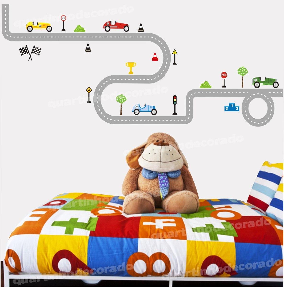 Adesivo Quarto Infantil Pista Parede Carros Corrida Menino R 99  ~ Desenhos Para Quarto Infantil E Foto De Quarto De Menino