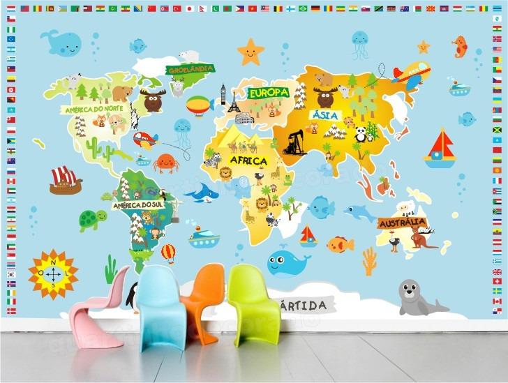 Artesanato Garrafa Pet Para O Natal ~ Adesivo Quarto Infantil Zoo Mapa Mundi Animais Papel Parede R$ 129,00 em Mercado Livre