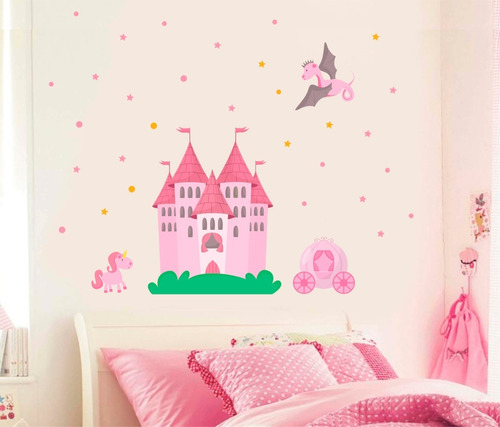adesivo quarto menina princesa castelo unicórnio