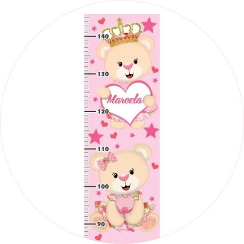 adesivo régua altura crescimento ursa princesa ursinha rosa