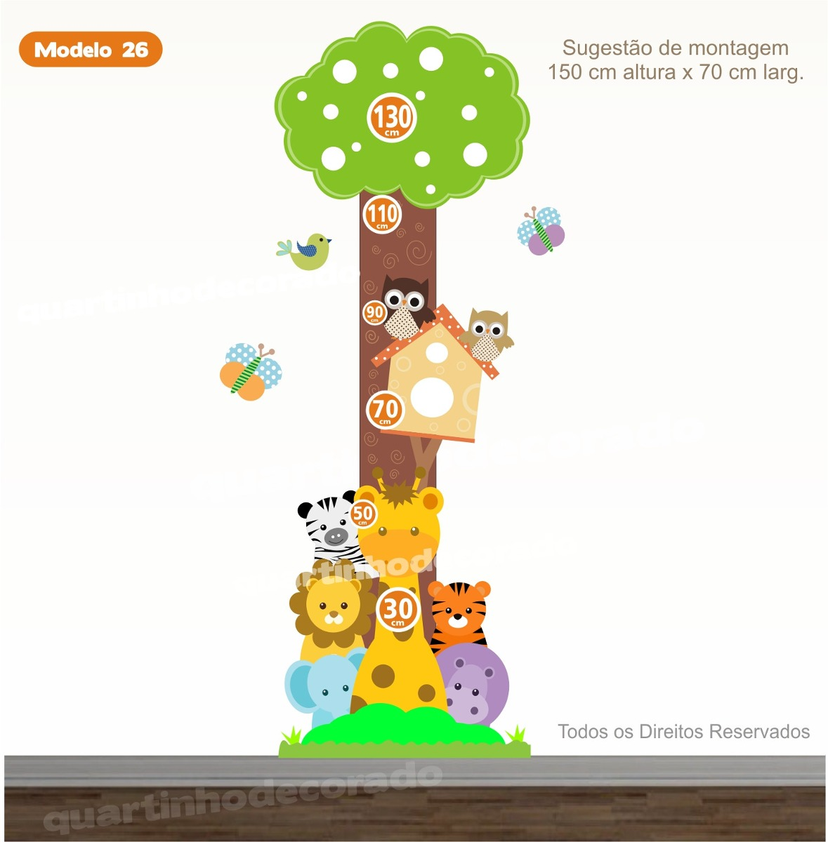Adesivo regua infantil safari zoo medidor crescimento bebe - Medidor infantil imaginarium ...