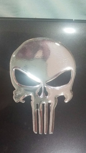 adesivo resinado caveira justiceiro cromado moto carro