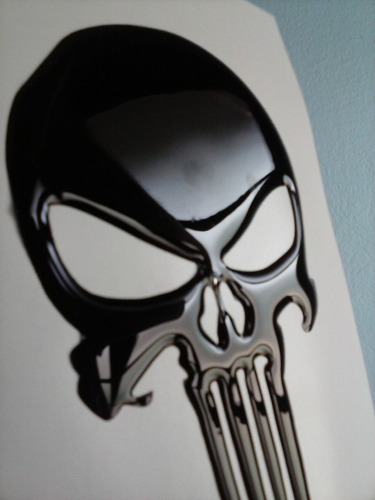 adesivo resinado caveira justiceiro preta moto carro capacet