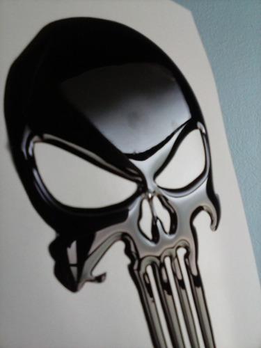 adesivo resinado caveira justiceiro preta moto vidro capacet