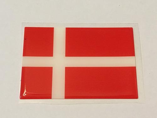 adesivo resinado da bandeira da dinamarca 9x6 cm