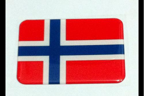 adesivo resinado da bandeira da noruega 9 cm por 6 cm